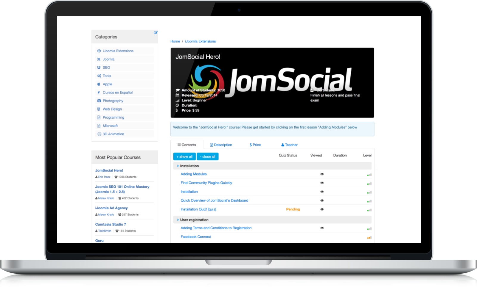 Joomla LMS course example