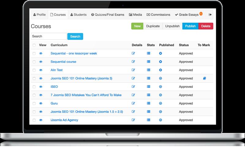 Front-End Teacher Interface - Joomla LMS - LMS for Joomla ...